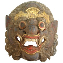 Balinese Barong Carved Wood Dance Mask