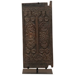 Balinese Floral-Carved Wood Rice Barn Door on Custom Base, Stands 4 Ft Tall