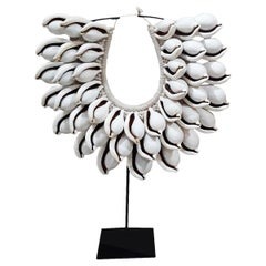 Balinese Egg Cowry and Raffia Necklace on Stand