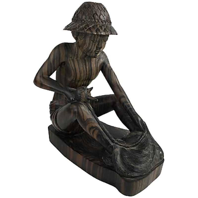 Balinese Fisherman Wood Carving Sculpture