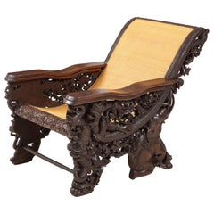 Balinese Heavily Carved Rosewood Plantation Chair