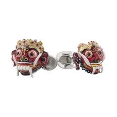 Balinese Masks Cufflinks 'Barong and Rangda' in Hand-Enameled Sterling Silver