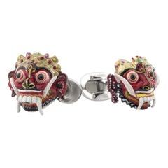 Balinese Masks of Barong and Rangda - Cufflinks in Hand-enameled Sterling Silver