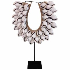 Balinese Seashell and Raffia Necklace on Stand