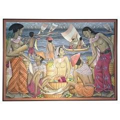 Balinese Seaside Market Painting by Dewa Putu Bedil, 1950s