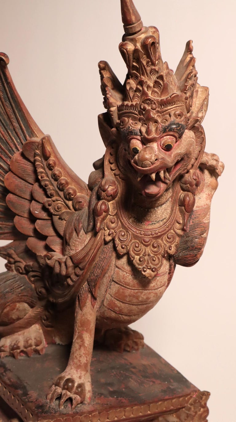 Balinese Winged Lion Guardian Figure Hardwood Indonesian Art Palace Sculpture For Sale 5