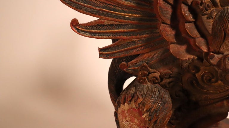 Balinese Winged Lion Guardian Figure Hardwood Indonesian Art Palace Sculpture For Sale 6