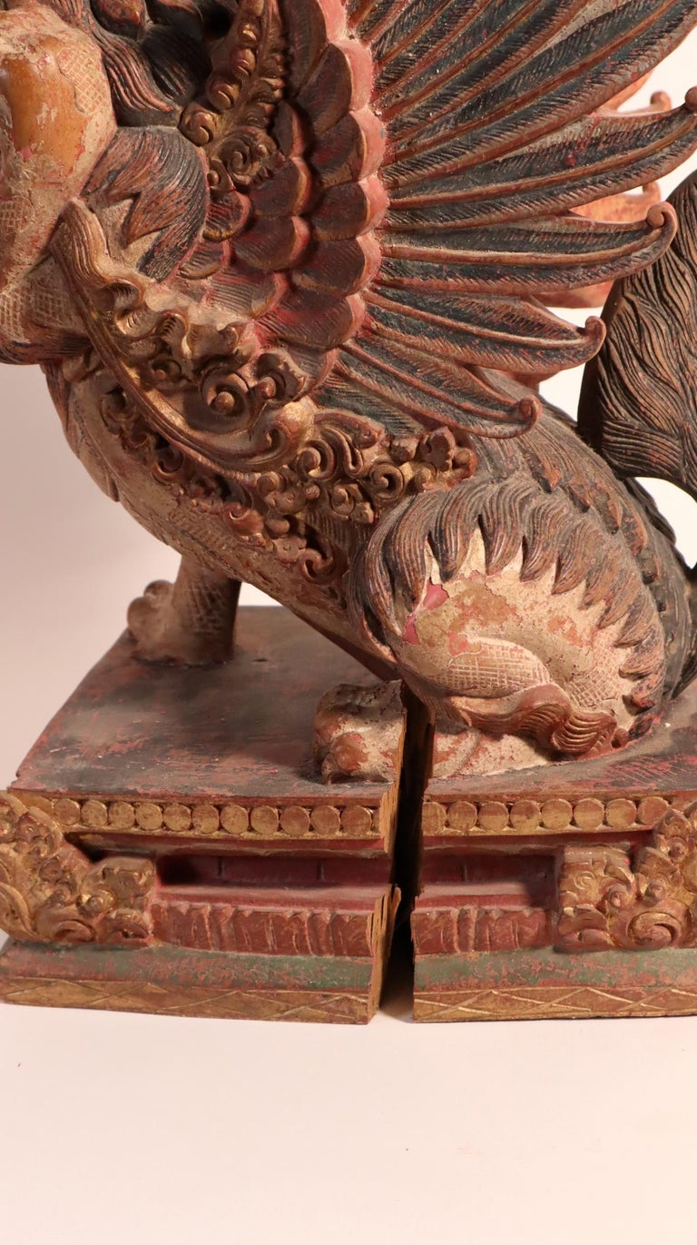 Balinese Winged Lion Guardian Figure Hardwood Indonesian Art Palace Sculpture For Sale 7