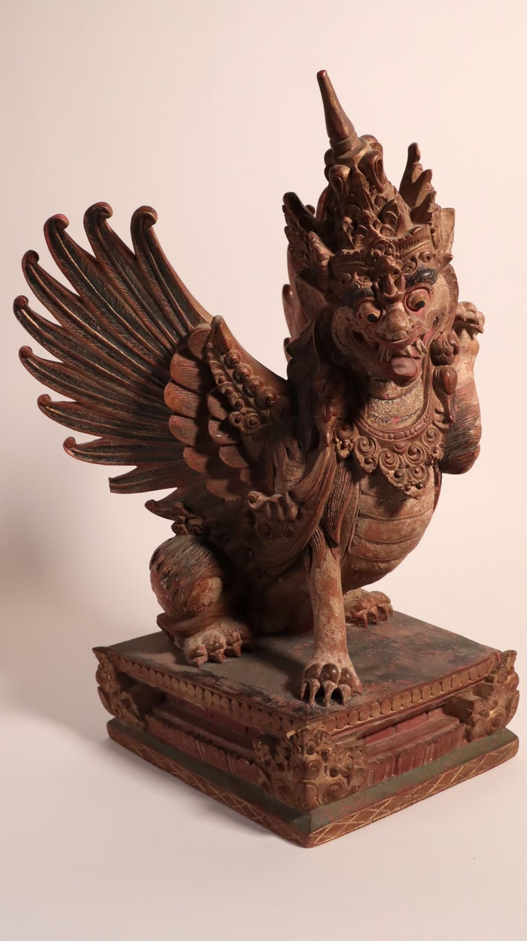 Hand-Carved Balinese Winged Lion Guardian Figure Hardwood Indonesian Art Palace Sculpture For Sale