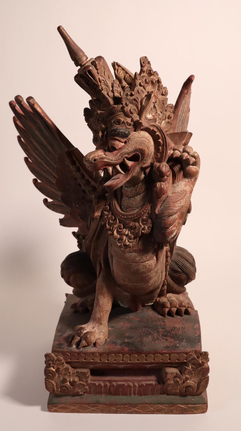 Balinese Winged Lion Guardian Figure Hardwood Indonesian Art Palace Sculpture In Fair Condition For Sale In Santa Fe, NM