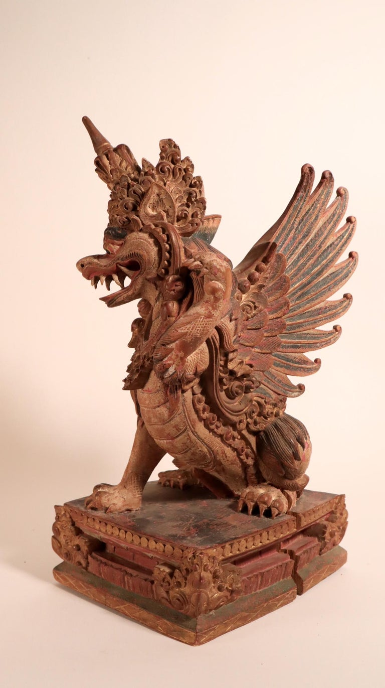 20th Century Balinese Winged Lion Guardian Figure Hardwood Indonesian Art Palace Sculpture For Sale