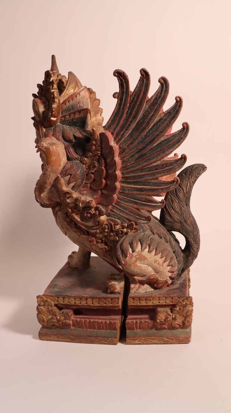 Balinese Winged Lion Guardian Figure Hardwood Indonesian Art Palace Sculpture For Sale 1