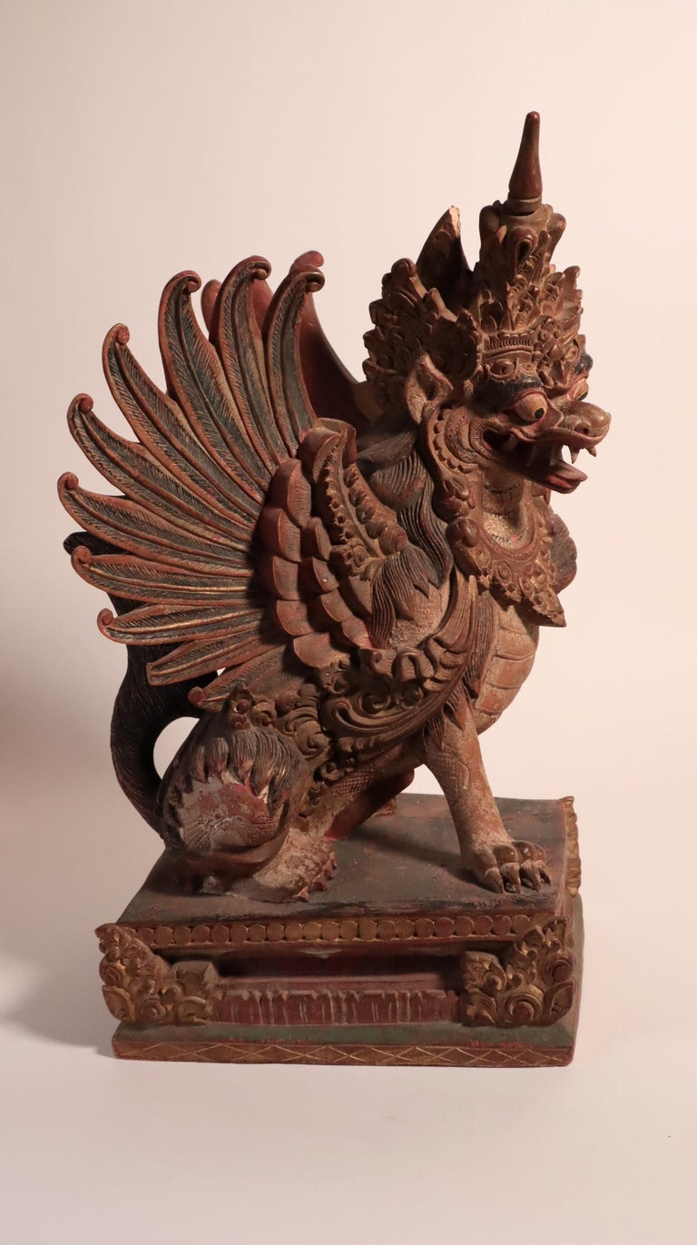 Balinese Winged Lion Guardian Figure Hardwood Indonesian Art Palace Sculpture For Sale 3