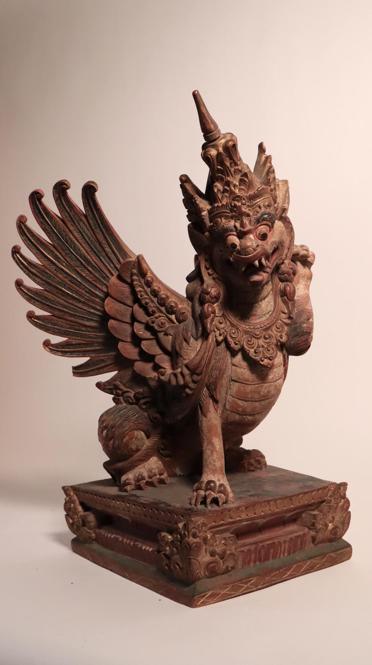 Balinese Winged Lion Guardian Figure Hardwood Indonesian Art Palace Sculpture For Sale 4