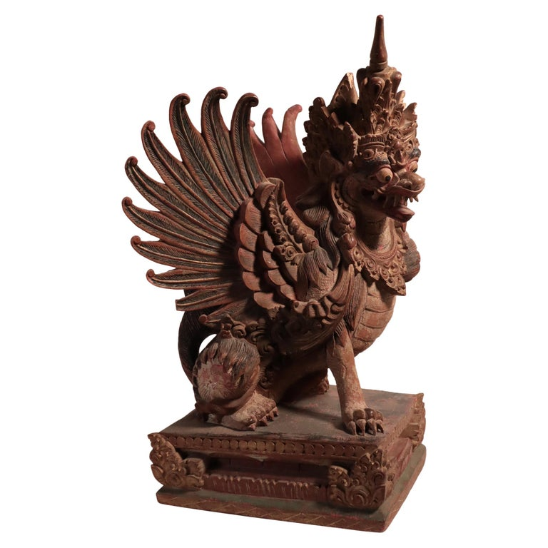 Balinese Winged Lion Guardian Figure Hardwood Indonesian Art Palace Sculpture For Sale