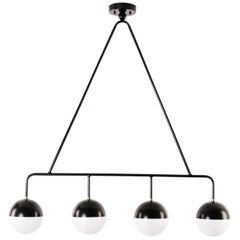 Balise Pendant in Black Powder-Coated Steel with 4 Opal Glass Globes
