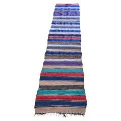 Balkan Vintage Handwoven Stripped Multicolor Rug Runner