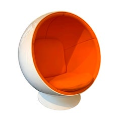 Ball Chair by Adelta, Eero Aarino, Orange and White, Space Age, Finland, 1990s
