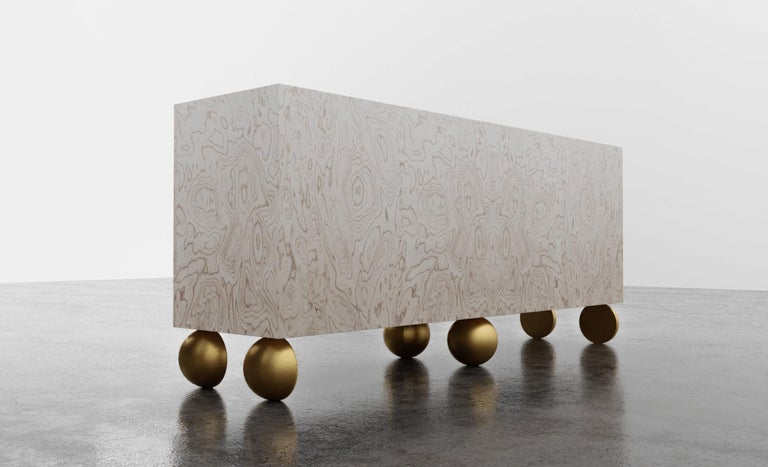 Bleached Ball Credenza, Modern Burl Wood with Metal Inlay and Metallic Legs For Sale