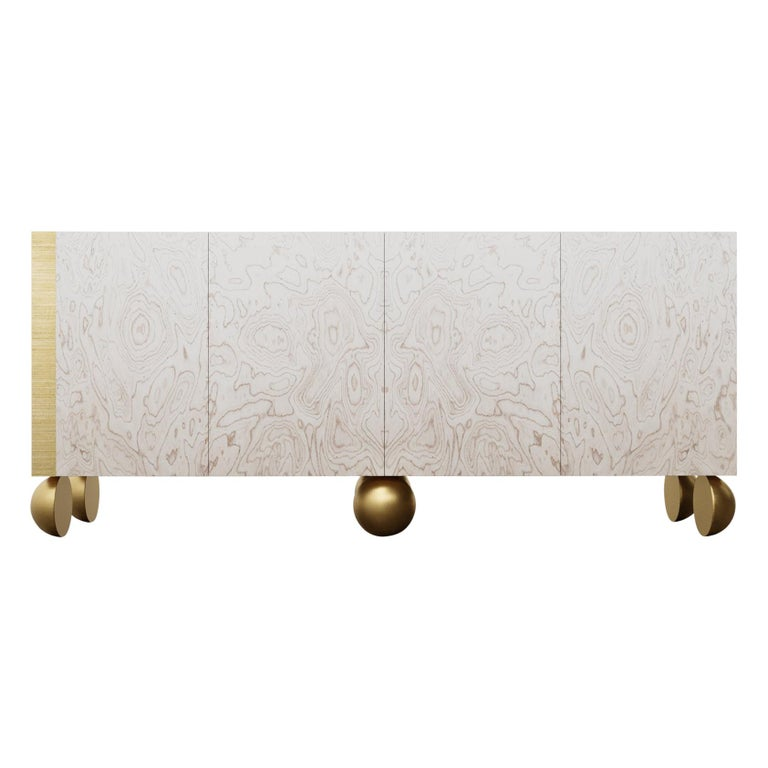 Ball Credenza, Modern Burl Wood with Metal Inlay and Metallic Legs For Sale