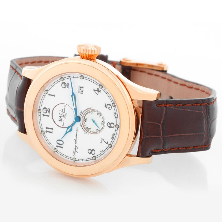 Ball Flying Scotsman 18K Rose Gold Men's Watch NM2198D-PG-LCJ-WH - Automatic winding. 18K Rose gold case with exposition back (42 mm). White dial with black Arabic numerals. Dark brown alligator strap with 18K Rose gold Ball buckle. Pre-owned with