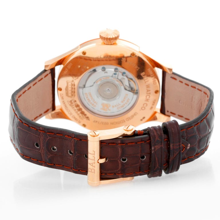 Ball Flying Scotsman 18 Karat Rose Gold Men's Watch NM2198D-PG-LCJ-WH In Excellent Condition For Sale In Dallas, TX