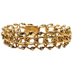 Retro Ball Link 14 Karat Yellow Gold Chain Bracelet