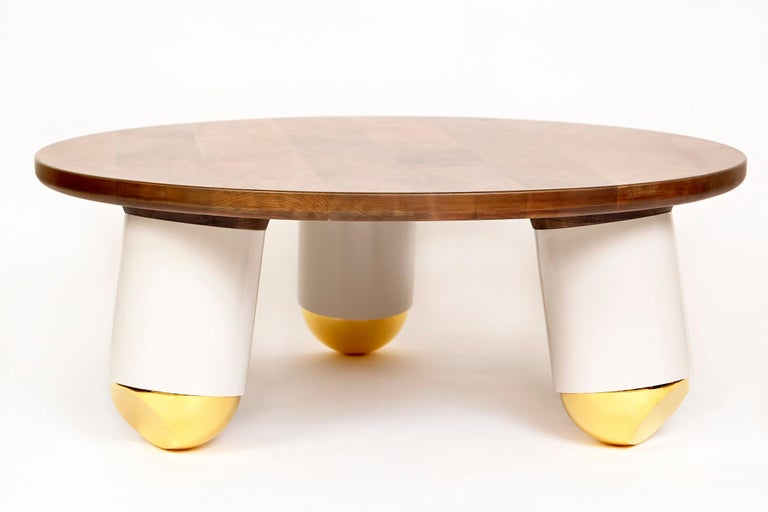 The ball nose coffee table was completely inspired by the geometry in Evan's surroundings. In this case a children's playground was the genesis of the idea. Evan goes on to describe his process,