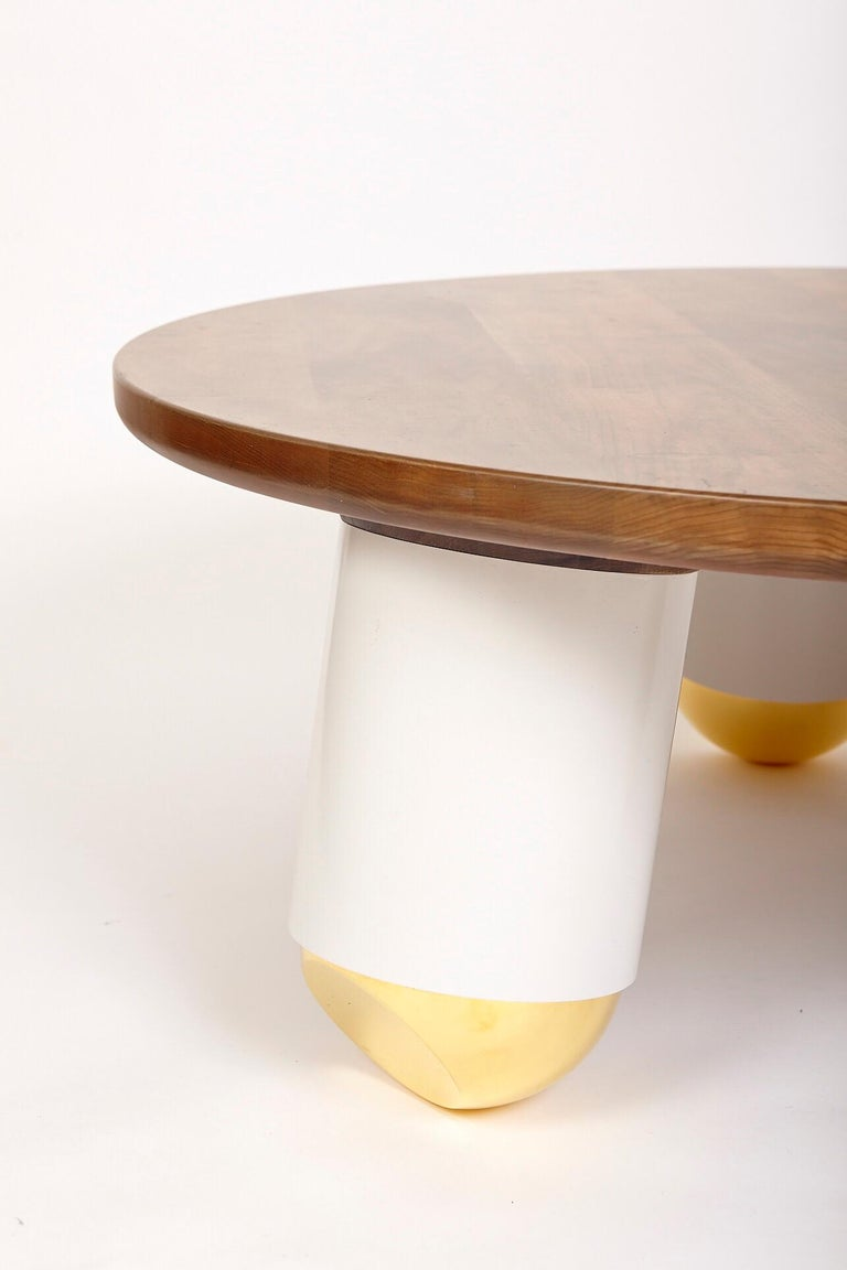 """""""Ball Nose Coffee Table"""" Oxidized Maple Top, Lacquered Steel, Gold-Plated Feet In New Condition For Sale In Brooklyn, NY"""