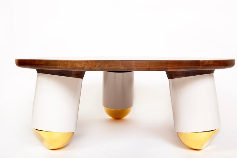 """Metal """"Ball Nose Coffee Table"""" Oxidized Maple Top, Lacquered Steel, Gold-Plated Feet For Sale"""