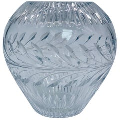 Ball Shaped Vase from Lead Crystal with Diamond Cut