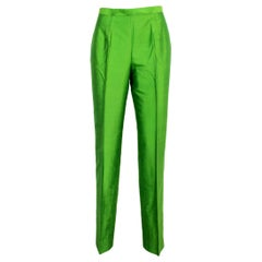 Ballantyne Emerald Green Silk Evening Trousers Size 8 1990s