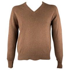 BALLANTYNE Size M Brown Solid Cashmere V-Neck Pullover
