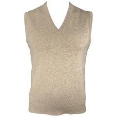 BALLANTYNE Size XL Beige Cashmere V-Neck Sweater Vest NWT