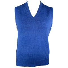 BALLANTYNE Size XL Blue Cashmere V-Neck Sweater Vest