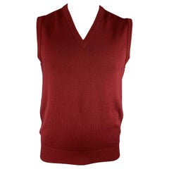BALLANTYNE Size XL Burgundy Cashmere V-Neck Sweater Vest