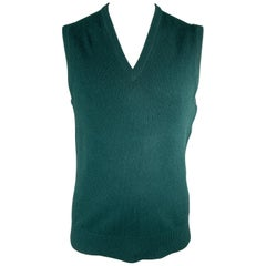BALLANTYNE Size XL Forest Green Cashmere V-Neck Sweater Vest