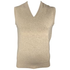 BALLANTYNE Size XL Heather Oatmeal Beige Cashmere V-Neck Sweater Vest