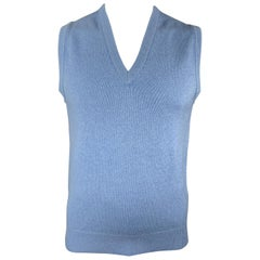 BALLANTYNE Size XL Muted Blue Knitted Cashmere V-Neck Sweater Vest