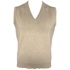 BALLANTYNE Size XL Oatmeal Cashmere V-Neck Sweater Vest