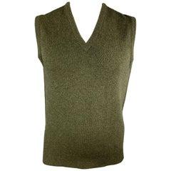 BALLANTYNE Size XL Olive Cashmere V-Neck Sweater Vest