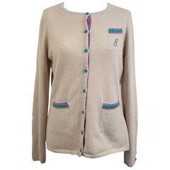 Ballantyne Vintage Beige Cashmere Cardigan Size 42