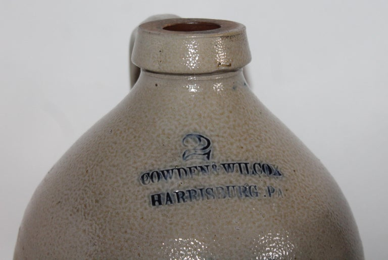American Ballard & Brothers / Vermont 1 Gal Decorated Stoneware Jug For Sale
