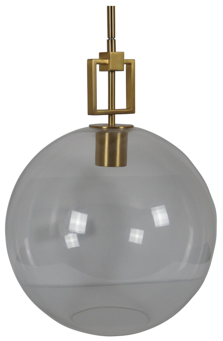 Ballard Designs Modern Fiona Glass Pendant Ceiling Bar Light Globe Brass 45 In Good Condition For Sale In Dayton, OH