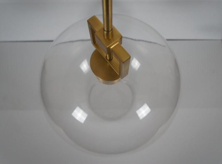Ballard Designs Modern Fiona Glass Pendant Ceiling Bar Light Globe Brass 45 For Sale 1