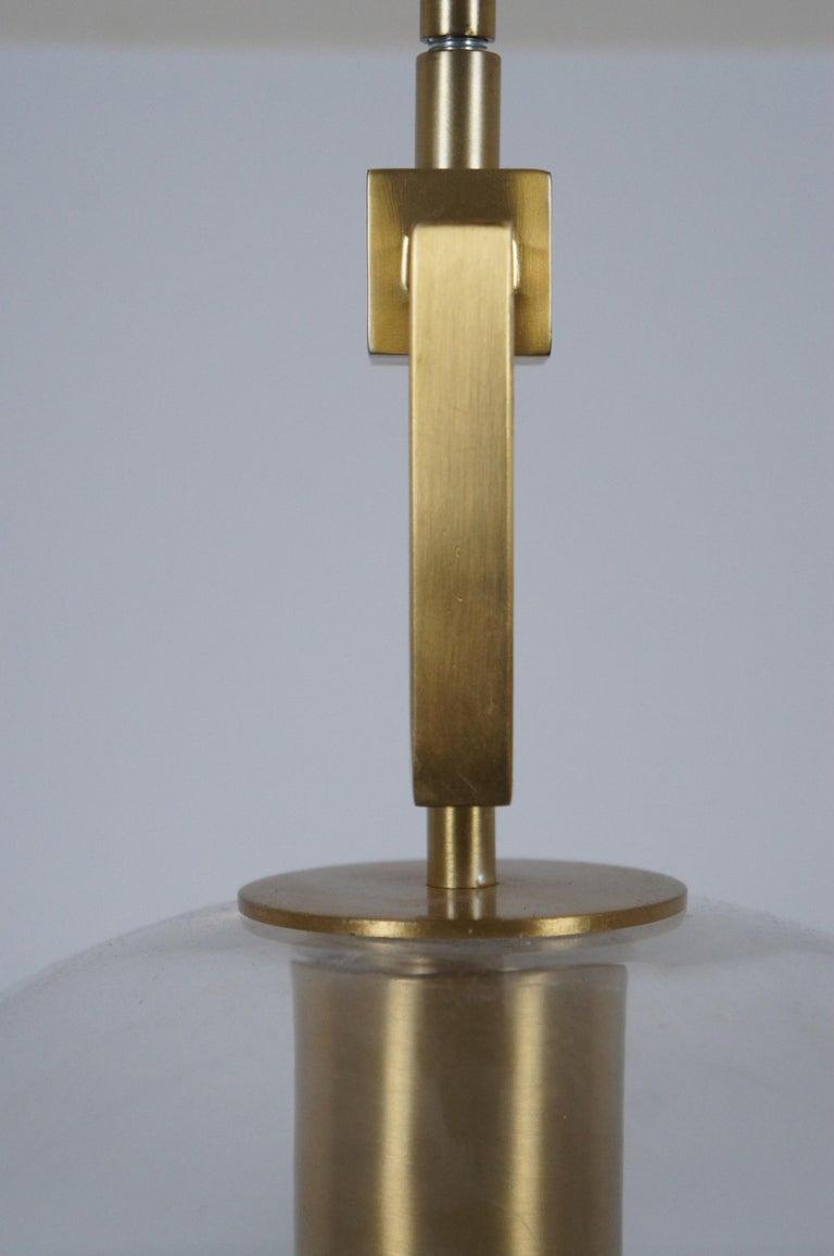 Ballard Designs Modern Fiona Glass Pendant Ceiling Bar Light Globe Brass 45 For Sale 3