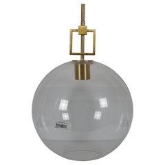 Ballard Designs Modern Fiona Glass Pendant Ceiling Bar Light Globe Brass 45