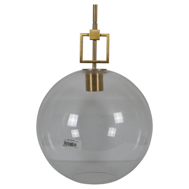Ballard Designs Modern Fiona Glass Pendant Ceiling Bar Light Globe Brass 45 For Sale