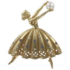 Ballerina Dancing Pin in 14 Karat