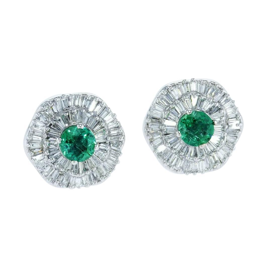 GIA Certified Ballerina Halo Interchangeable Diamond, Ruby& Emerald Earring Set